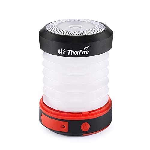 Thorfire LED Camping Lantern Lights USB Rechargeable & Solar Powered Lantern Emergency Light, 3 Lighting Modes, Collapsible Flashlight for Camping, Home, Hiking, Fishing (Emergency Charger for Phone)