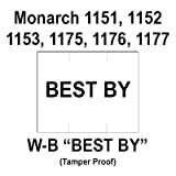 96,000 Monarch compatible 1151 ''Best By'' White General Purpose Labels to fit the Monarch 1151, 1152, 1153, 1175, 1176, 1177, 1180 & 1202 Price Guns. Full Case + includes 16 ink rollers.