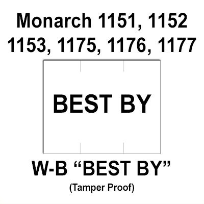 96,000 Monarch compatible 1151 ''Best By'' White General Purpose Labels to fit the Monarch 1151, 1152, 1153, 1175, 1176, 1177, 1180 & 1202 Price Guns. Full Case + includes 16 ink rollers. by Infinity Labels