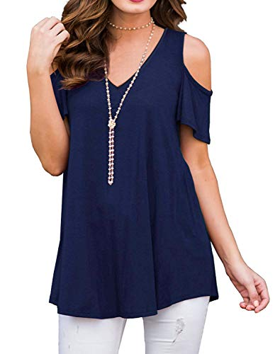 Women Fit T Shirt Floral Cold Shoulder V Neck Tunic High Low Tops Navy Blue S