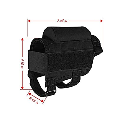 Wakeach Portable Adjustable Tactical Buttstock Rifle Shell Holder Cheek Rest Pouch Holder Pack with Ammo Carrier Case for 300 308 Winmag - Black
