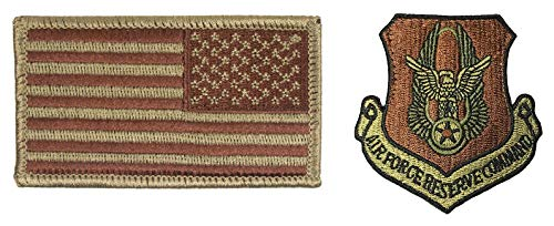 - USAF Reserve Command OCP Spice Brown Patch and Reverse Flag Bundle (Single Bundle)