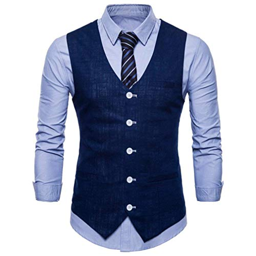 Slim Mode Dress Blau Homme Neck Automne Marine Casual Gilet Suit V Hommes Black Formel Avec Coton Fit WSnwSI0Paq