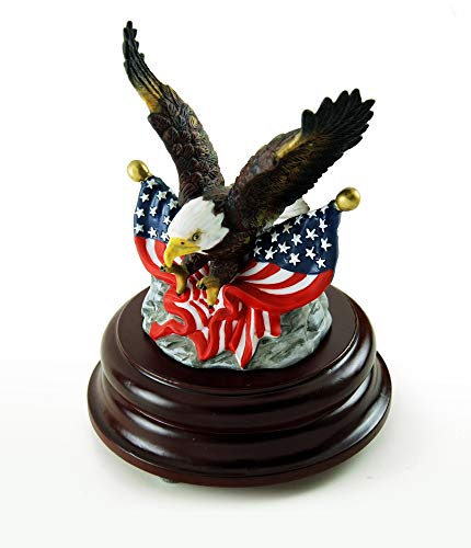 Patriotic American Bald Eagle With Dual USA Flags Musical Figurine - Over 400 Song Choices - Nutcracker Suite ()