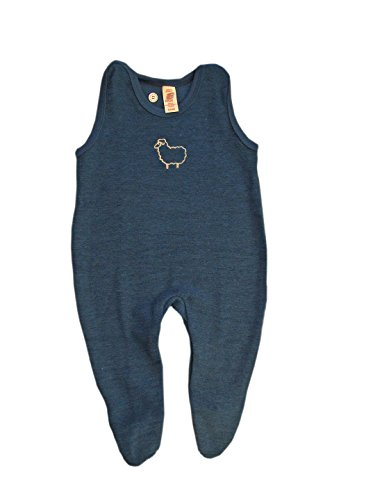 ENGEL Romper 100% MERINO WOOL baby infant footed overall organic (6-12 mo, Ocean blue) (Overall Wool)