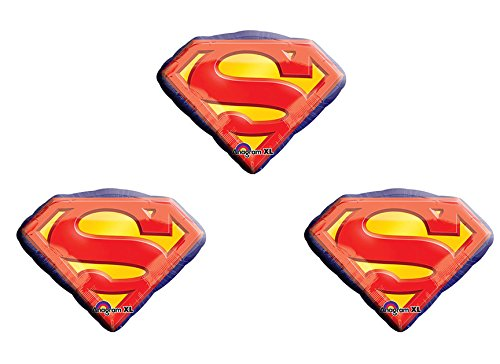 Anagram 26 Inch Superman Emblem Foil Balloons Package of 3 -