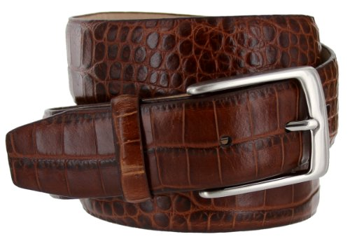 Brown Leather Designer Belt (Joseph Italian Leather Alligator Embossed Designer Dress Belt for Men Silver Buckle (34,)
