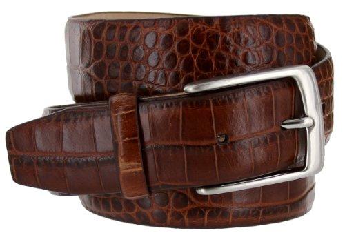 Joseph Italian Leather Alligator Embossed Designer Dress Belt for Men Silver Buckle (34, Brown) (Brown Leather Designer Belt)