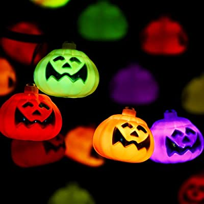 Halloween Pumpkin String Light - Multicolor Pumpkin Lights 20 LED Fairy Lights 8 Modes Battery Operated String Light w/ Remote Timer 17.4 Ft Waterproof Light for Halloween Parties Outdoor & Indoor.
