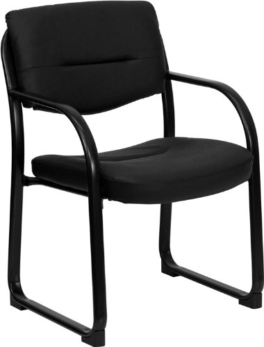 - Flash Furniture Black Leather Executive Side Reception Chair with Sled Base