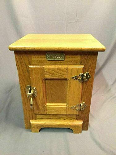 - Oak Ice Box Countertop Wine Bar Liquor Cabinet