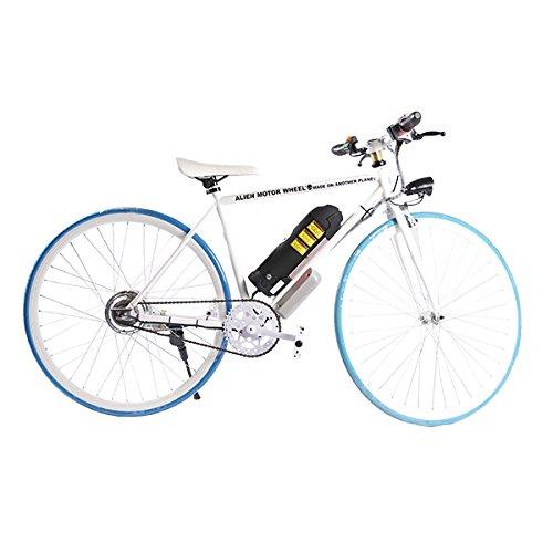 ELECTRIC Fixie Bike 350W 33MPH Alien Motor Wheels TM (WHITE/BLUE/WHITE/BLACK)