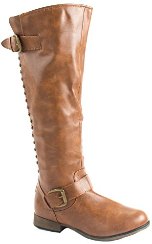 Tan Zipper Studs at Faux 24 Boots Legend with High Length Women's Forever Knee Leather 4RqAOwxn