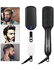 Men's Ionic Beard Straightener Comb, Dual Voltage (100V-240V) Quick Hair Styler Ionic Beard Straightening Heat Brush PTC Ceramic Technology, Curling Hair Comb Electric Hair Comb for Men Women