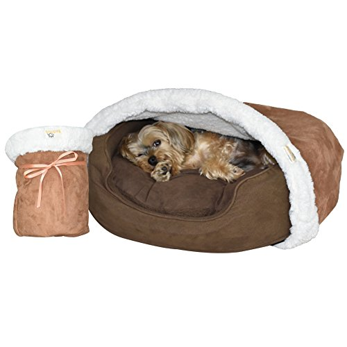 BedHug BEST Dog Blanket - Cat Blanket - Attaches to Your Own Pet Bed - Soft Burrow - Bed Blankets - MADE IN USA (Brown)- SMALL