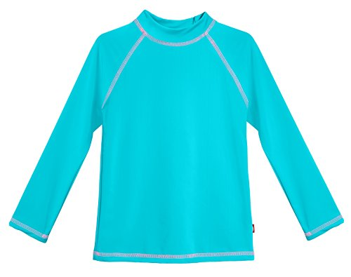 City Threads LS Little Girls' Rashguard Swimming Suit Swim Tshirt Tee UPF50+ Sun Protection for Beach Pool Summer Fun, LS Turquoise/Pink, 3T