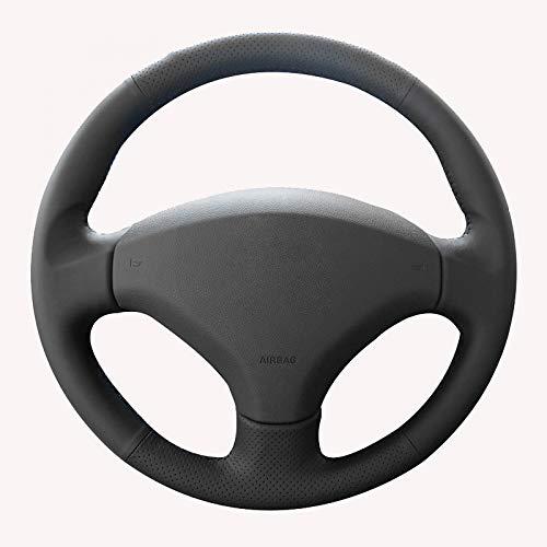 KDKDKLMB steering wheel cover Black Artificial Leather Steering Wheel Cover,for Peugeot 408 /,for Peugeot 308-White thread: