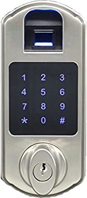 """SCYAN D5-SN D5 Fingerprint Touchpad Deadbolt Lock, 7"""" Height, 3"""" Length, Zinc Alloy, Satin Nickel"""