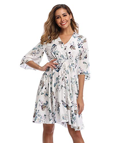 VintageClothing Women's Floral Sundresses Flowy Boho Summer Casual Beach Dress Button Up Midi Party Dress, M