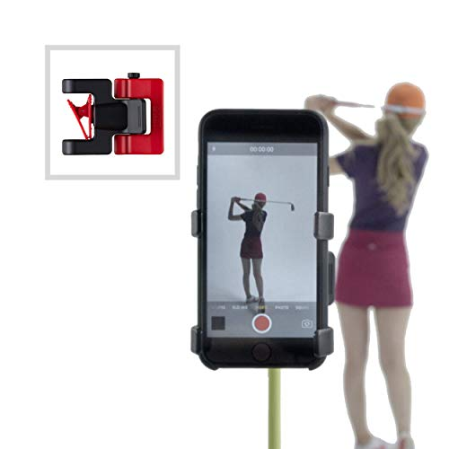 Record Golf Swing - Cell Phone Clip Holder and Training Aid by SelfieGOLF TM - Golf Accessories   The Winner of The PGA Best of 2017   Compatible with Any Smart Phone (Red/Black)