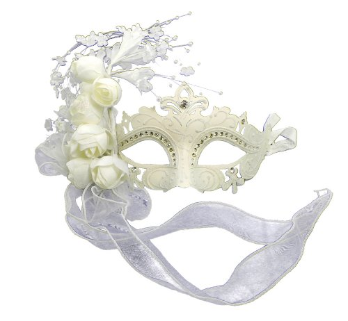 RedSkyTrader Womens Sparkling Wedding Venetian Mask One Size Fits Most White -