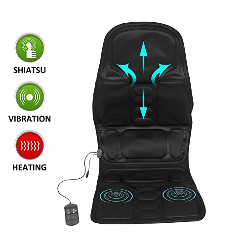 - Car Seat Massager, Comfortable Back Neck Lumbar Massage Cushion Heated Mat Pad Massager for Home Office Car Use, Black