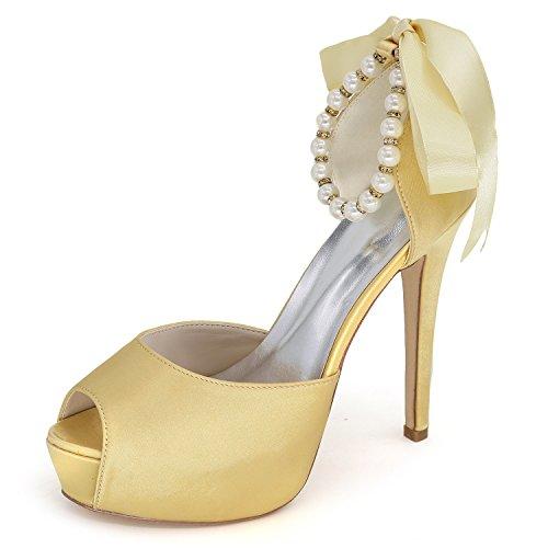 New Yellow Elobaby Cinghie Satin 42 35 Heels Size Peep Sposa Heel con Scarpe Peep Perle Toe da High Dress 11cm Donna wIvvXRr