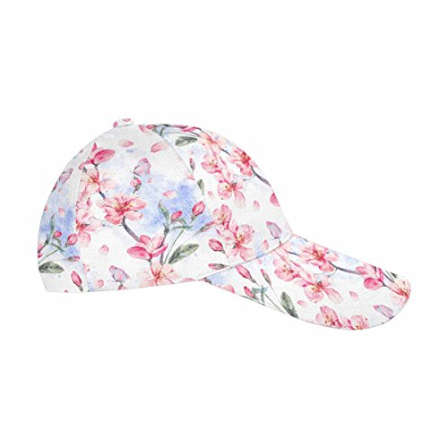 INTERESTPRINT Spring Pink Flowers Blooming Branches of Cherry, Peach, Pear, Sakura, Apple Trees and Butterflies Women Men Adjustable Baseball Cap