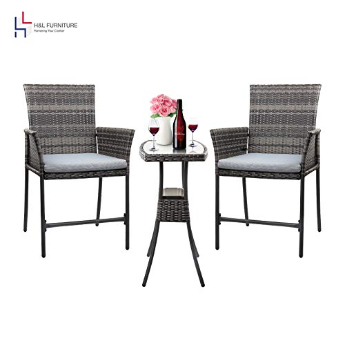 HL Patio Outdoor 3PCS Wicker Bistro Bar Set with Ice Bucket: Gray PE Rattan Furniture - Two Chairs with Tempered Glass Coffee Table (Gray Cushion),1 Year Warranty