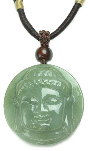 Gautama Buddha Head Grade A Carved Jade Amulet Necklace- Fortune Buddhist Jade Jewelry