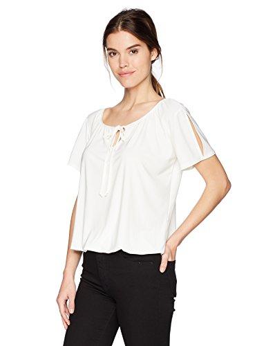 Star Vixen Women's Short/Slit Sleeve Keyhole-Tie Peasant Top Bubble Hem, Ivory Solid, ()