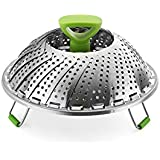 """Foldable Stainless Steel Steamer Basket - Jaybva Collapsible Adjustable Fruit Plate Tray for Food Vegetable Steaming with Extendable Handle Fits in Instant Pot Pressure Cooker Pan 5.5"""" to 9"""" (22 cm)"""