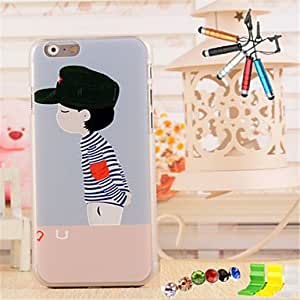QJM 3D Relief Boy Pattern PC Material with Stylus Anti-Dust Plug and Stand portfolio for iPhone 6