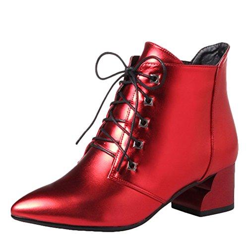 Latasa Kvinna Spetsig Tå Chunky Häl Oxford Boots Röd