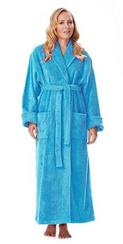 Arus Women's Optimal Style Full Length Thick Shawl Collar Turkish Bathrobe Bright Blue (Luxury Cotton Bath Robe)