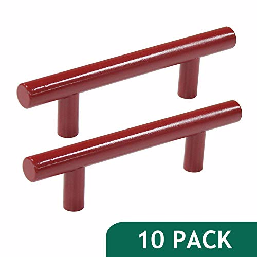 """Probrico Modern Cabinet Hardware Handle Pull Kitchen Cabinet T Bar Knobs and Pull Handles Red - 3""""Hole Spacing - 10 Pack"""