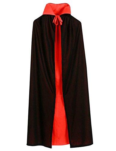 Druid Cloak Costume (Custome Black Red Reversible Cloak Goth Devil Pirate Vampire Demon 35