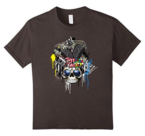 [Kids Rock & Roll T Shirts - Retro 80's Skull N Music Equipment 8 Asphalt] (70s Era Clothing)