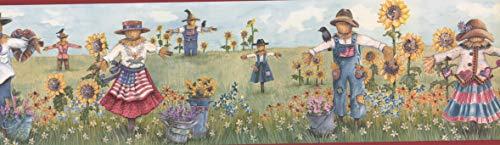 Scarecrows & Sunflowers Wallpaper Border -