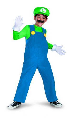 Disguise Boy's Nintendo's Super Mario Brothers Luigi Deluxe Costume, 7-8 (Mario And Luigi Costumes Kids)