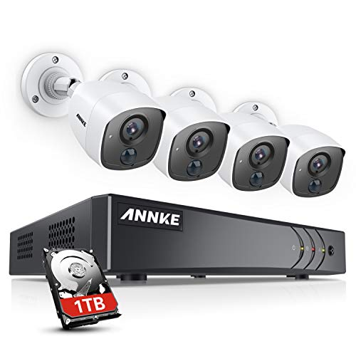 ANNKE Security Camera System for Home 8CH H.265+ 3MP DVR with 1TB Hard Drive and 4×1080P HD Weatherproof PIR Surveillance CCTV Camera for Outdoor Use, Flashing Light Alarm, Email Alert with Snapshots