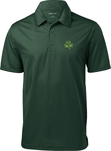 Buy Cool Shirts St Patricks Day Shamrock Patch Pocket Print Textured Polo, Forest, Large