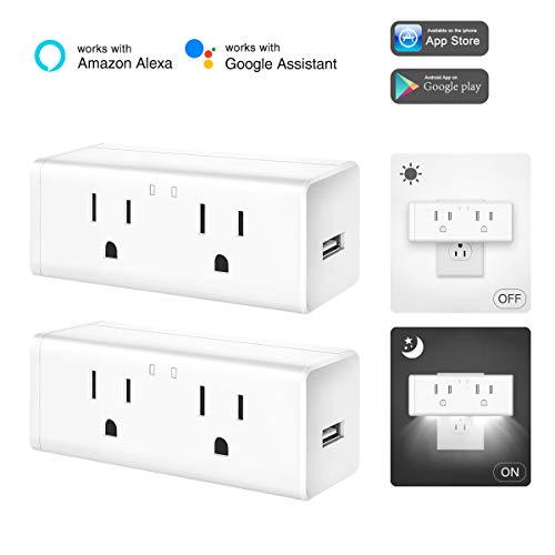 Lh Remote Switch - LOHAS WiFi Smart Plug Outlet, Compatible with Alexa and IFTTT Google Assistant for Voice Control, Remote Control via App, Timer Function, Mini 2 Plugs and USB Port, Cover Night Light, 2 Pack