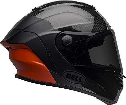 Bell Race Star DLX Full-Face Motorcycle Helmet (Lux Matte/Gloss Black/White/Orange, Large)