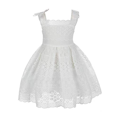 Girls Dress Lace Flower Princess Dresses for Kids 2-8Years(90CM(2-3Years)) White -