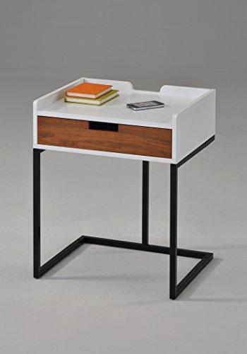 White Finish / Dark Oak Drawer / Metal Frame Nightstand Side End Table 22.5