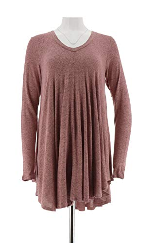 AnyBody Loungewear Brushed Hacci V-Neck Swing Top Autumn Rose XL New A286932 from AnyBody