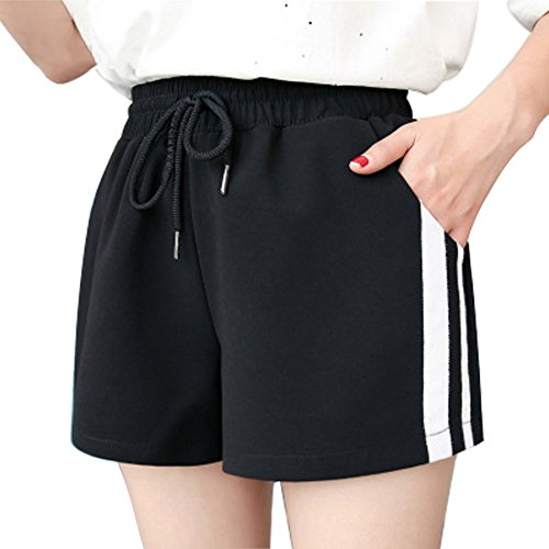 Yying Shorts Ray pour Femme Mode Taille Moyenne Pantalon Court avec Cordon Taille Elastique Casual Pantalon Shorts Streetwear Plus La Taille Noir
