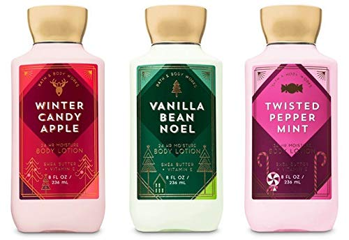 - Bath and Body Works Holiday Traditions Christmas Lotion Gift Set of 3 Full Size Body Lotions: Vanilla Bean Noel, Winter Candy Apple, and Twisted Peppermint (Large 8 ounce bottles)