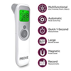 Prove Infrared No Contact Thermometer - 4 Modes for Forehead/Ear/Room/Object | Medical Baby Thermometer for Fever w Large LCD Screen